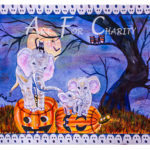 """A """"BIG"""" Trick Or Treat - Liquid Acrylic on paper - 15 inches x 11 inches - cards 6 inches x 4 inches"""