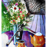 Afternoon Tea - Watercolor on paper 22 inches x 30 inches - Printed card 4 inches x 6 inches