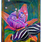 Butterflies Love Flowers - Liquid Acrylics on canvas - 24 inches x 36 inches - printed card 4 inches x 6 inches