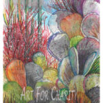 Cactus Garden - Multimedia and Watercolor on paper - 10 inches x 14 inches - Printed card 4 inches x 6 inches