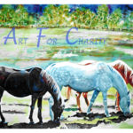 Equine Companions - Watercolor on paper - 30 inches x 22 inches - Printed card 6 inches x 4 inches
