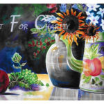 Flowers and Friends - Watercolor on paper - 30 inches x 22 inches - Printed card 6 inches x 4 inches