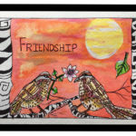 Friendship Forever - Liquid acrylic on paper- 6 inches x 4 inches - Printed card 6 inches x 4 inches
