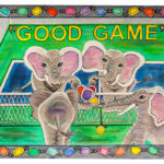 Good Game - Liquid acrylic on paper- 16 inches x 12 inches - Printed card 6 inches x 4 inches