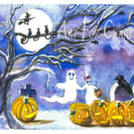 Halloween Buddies - Watercolor on paper - 6 inches x 4 inches