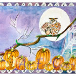 Halloween Hoots - Watercolor on paper - 6 inches x 4 inches