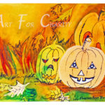 Halloween Smiles - Watercolor on paper - 6 inches x 4 inches