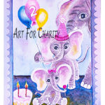 Happy 2nd Birthday - Liquid Acrylic on paper - 11 inches x 15 inches - cards 6 inches x 4 inches
