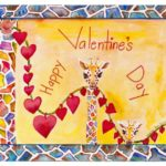 Happy Valentine's Day - Watercolor on paper - 15 inches x 11 inches - cards 6 inches x 4 inches