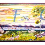 Living In Harmony-Triptych: Fluid acrylic on canvas- 60 inches x 24 inches - Printed card 9 inches x 4 inches