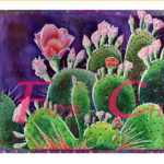 Prickly Pears-Triptych Watercolor on paper - 60 inches x 22 inches- Printed card 9 inches x 4 inches