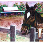 Saratoga Pink Barn - Watercolor on canvas - 14 inches x 10 inches - Printed card 6 inches x 4 inches