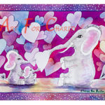 Sending Valentine Love - Liquid Acrylic on paper - 15 inches x 11 inches - cards 6 inches x 4 inches