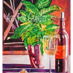 Time To Unwind - Rice Paper and Watercolor on canvas - 24 inches x 36 inches - Printed card 4 inches x 6 inches