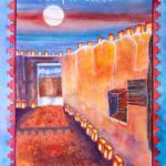 Tubac Mission with luminaries - Watercolor on paper - 15 inches x 22 inches -printed card 4 inches x 6 inches
