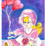 Valentine Surprise - Watercolor on paper - 4 inches x 6 inches