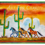 Wild Horses - Acrylic on burlap - 16 inches x 12 inches - Printed card 6 inches x 4 inches