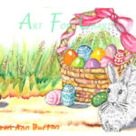 Easter Bunny With Basket - Watercolor on paper- 6 inches x 4 inches