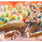 Mother and Fawns - Watercolor on paper - 14 inches x 10 inches - Printed card 6 inches x 4 inches