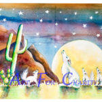 Night Howlers - Watercolor on paper - 14 inches x 10 inches - Printed card 6 inches x 4 inches